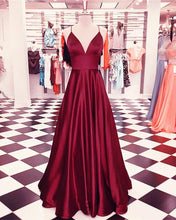 Load image into Gallery viewer, Spaghetti Straps V-neck Long Satin Prom Dresses Floor Length Evening Gowns