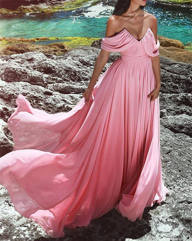 Image of Blush-Prom-Gowns-Long-Chiffon-Evening-Dresses-V-neck-Off-The-Shoulder