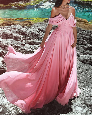 Image of Blush-Pink-Bridesmaid-Dresses-Long-Formal-Dress-For-Wedding-Party