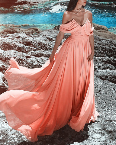 Image of Coral-Pink-Evening-Dresses-Long-Chiffon-Prom-Gowns-2019