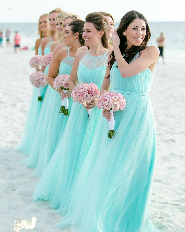Halter Top Tulle Floor Length Bridesmaid Dresses For Weddings