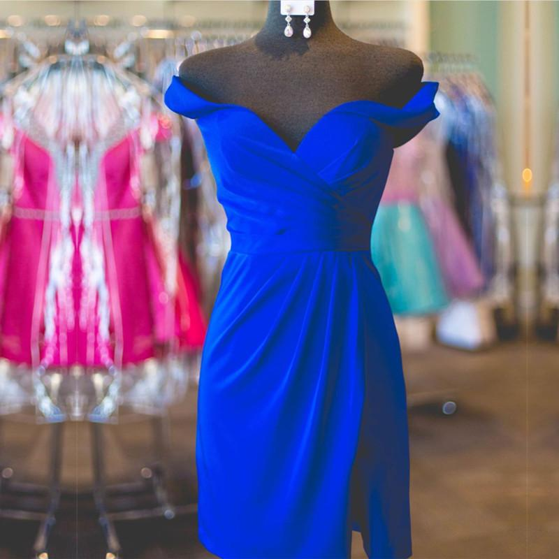 royal blue cocktail dresses off shoulder party gowns 2017