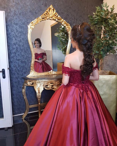 Image of Maroon-Wedding-Dresses-Ball-Gowns-Off-The-Shoulder-Dress-For-Engagement