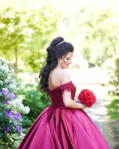 Image of Burgundy-Wedding-Dresses-Ball-Gowns-Lace-Embroidery-V-neck-Off-The-Shoulder