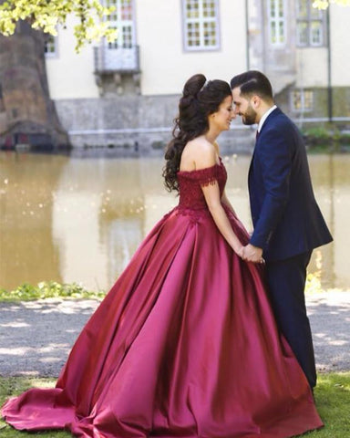 Image of Burgundy-Quinceanera-Dresses-Satin-Ball-Gowns-Prom-Dress-Lace-Embroidery