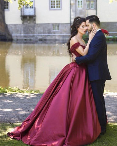 Image of Wine-Red-Ball-Gown-Prom-Quinceanera-Dress-For-Sweet-16