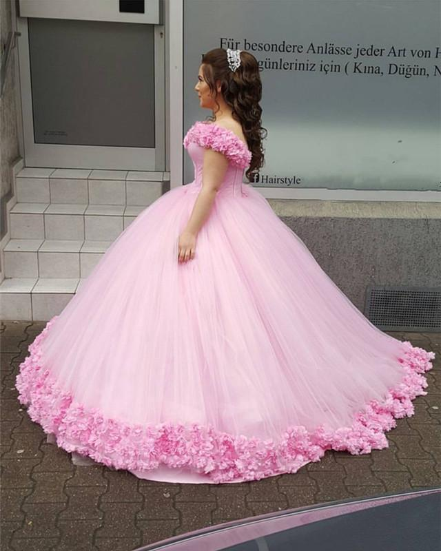 0aa5ee17355 Blush Pink Tulle Ball Gowns Floral Wedding Dresses Off-the-shoulder ...