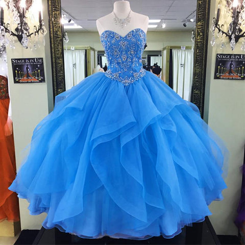 Image of beaded sweetheart organza ruffles turquoise quinceanera dresses ball gowns