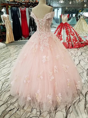 Image of Blush Pink Wedding Dresses Ball Gowns Off Shoulder With 3D Lace Flowers