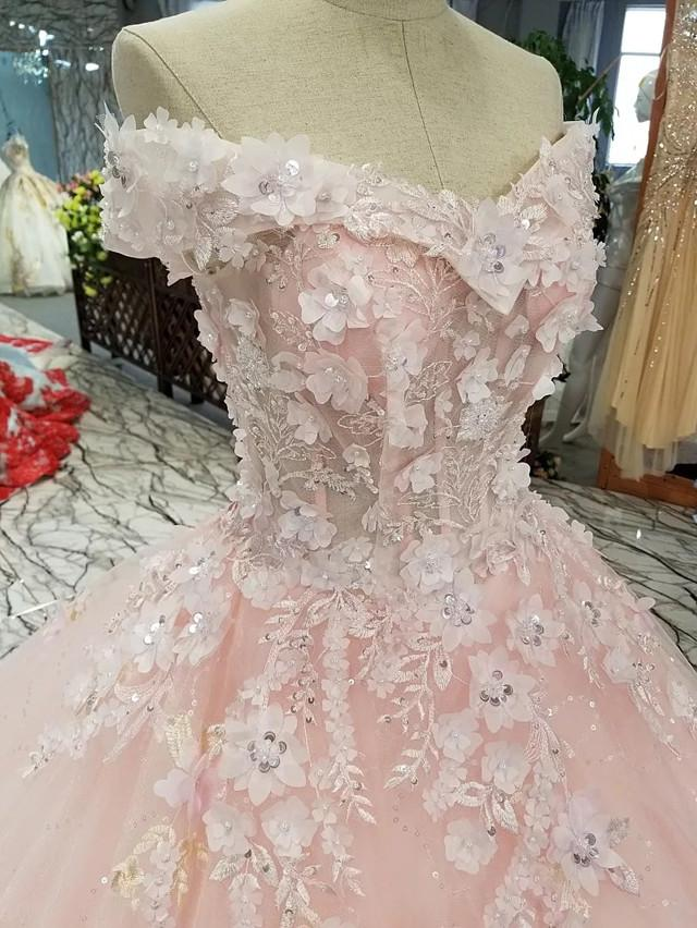 Off-The-Shoulder-Wedding-Gowns-Floral-Flowers-Dress-Bride