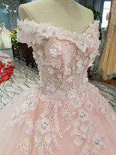 Load image into Gallery viewer, Blush Pink Wedding Dresses Ball Gowns Off Shoulder With 3D Lace Flowers