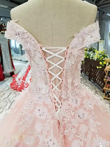 Image of Vintage-Flowers-Wedding-Ball-Gown-Dresses-Off-The-Shoulder