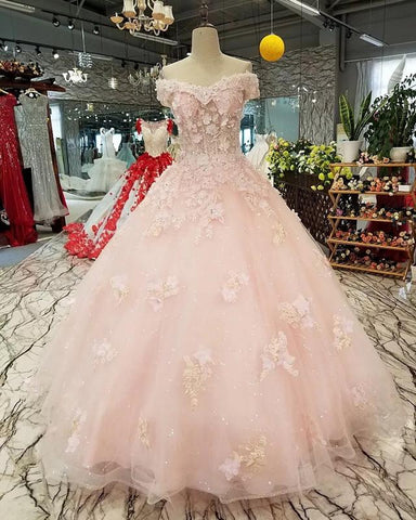 Image of Blush-Pink-Wedding-Dresses-Ball-Gown-Flower-Dress-Off-The-Shoulder