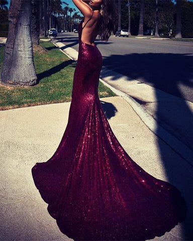 Image of Burgundy-Prom-Dresses-2019-V-neck-Sequins-Mermaid-Evening-Gowns
