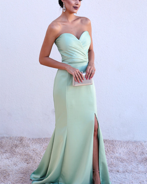 Sexy Ruched Sweetheart Mermaid Split Bridesmaid Dresses