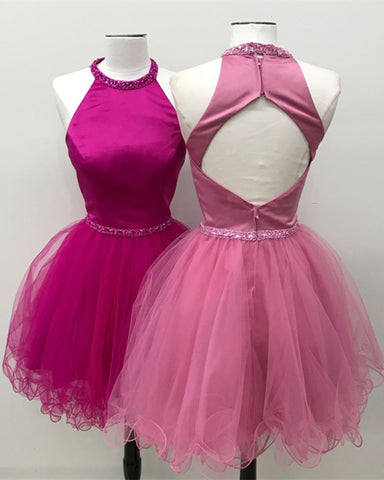 Image of Beaded Halter Keyhole Back Organza Ruffles Homecoming Dresses