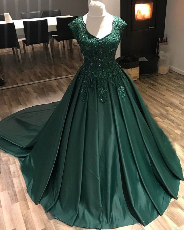 Modest Lace Cap Sleeves V-neck Long Satin Ball Gowns Prom Dresses