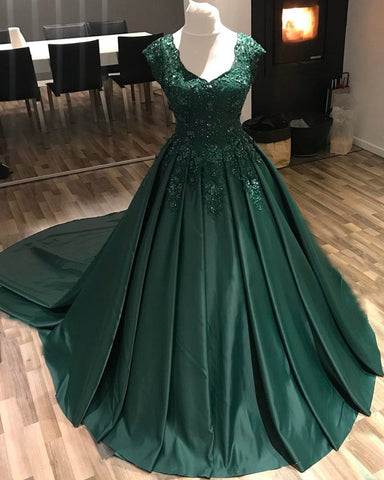 Image of Modest Lace Cap Sleeves V-neck Long Satin Ball Gowns Prom Dresses