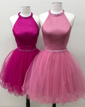 Load image into Gallery viewer, Beaded Halter Keyhole Back Organza Ruffles Homecoming Dresses