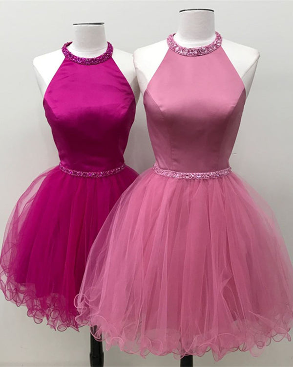 Beaded Halter Keyhole Back Organza Ruffles Homecoming Dresses