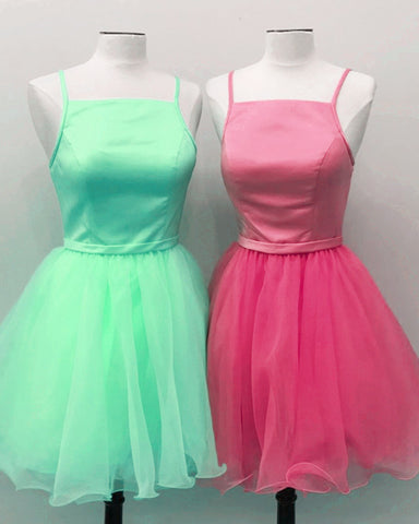 Image of Short Spaghetti Straps Homecoming Party Dresses Organza Ruffles
