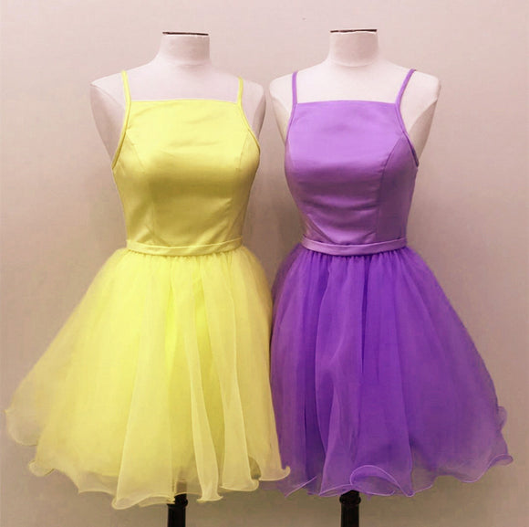 Short Spaghetti Straps Homecoming Party Dresses Organza Ruffles
