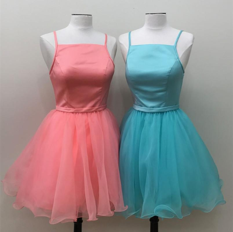 Spaghetti Straps Square Neck Homecoming Dresses Organza Prom Short Dress