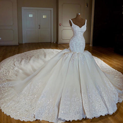 Image of Vintage Royal Train Satin Mermaid V-neck Wedding Dresses Lace Embroidery