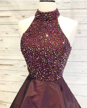 Afbeelding in Gallery-weergave laden, High Neck Open Back Prom Homecoming Dresses Crystal Beaded