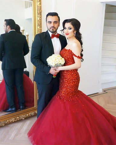 Image of Fully Crystal Beaded Sweetheart Red Mermaid Prom Dresses Off The Shoulder