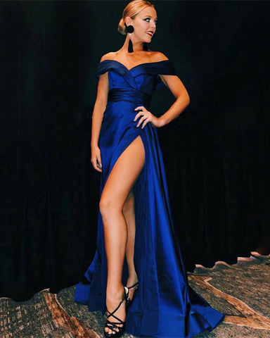 Image of Off-The Shoulder Long Satin Sheath Prom Dresses Leg Split