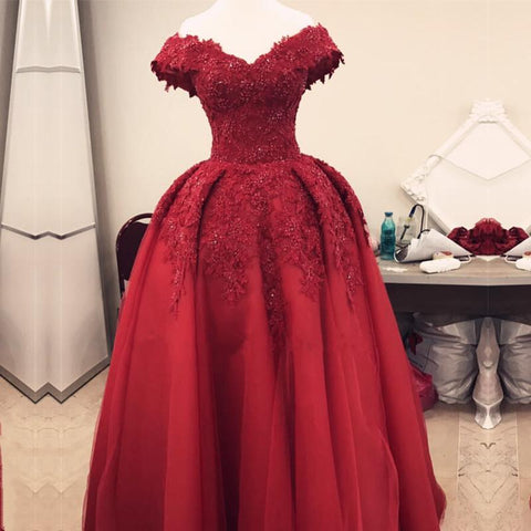 Image of Burgundy Lace Off Shoulder Tulle Floor Length Evening Gowns