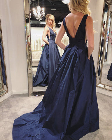 Image of Navy-Blue-Evening Gowns
