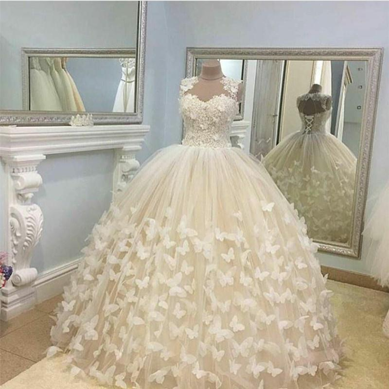 Butterfly Wedding Dresses Ball Gowns Lace Cap Sleeves