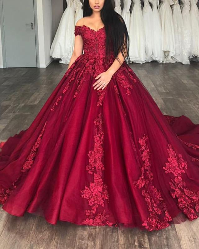 947408fa3b40 Off The Shoulder Tulle Ball Gowns Quinceanera Dresses Lace Appliques ...