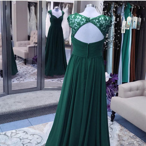 Image of Elegant Long Chiffon Backless Bridesmaid Dresses Lace Cap Sleeves