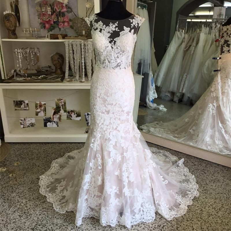 Vintage Cap Sleeves Lace Mermaid Wedding Dresses 2017