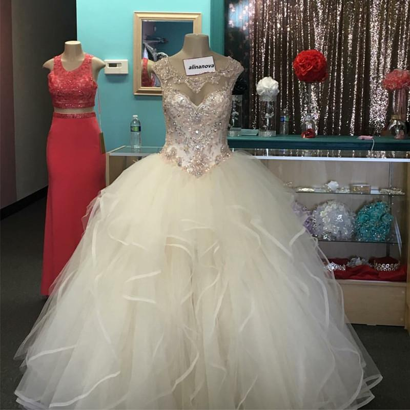 Light Champagne Organza Ruffles Quinceanera Dresses Ball Gowns Cap Sleeves