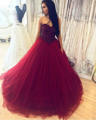 Image of Burgundy-Ball-Gowns-Wedding-Dresses