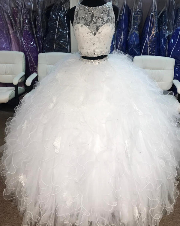 Beaded Lace Crop Organza Ruffles Quinceanera Dresses Two Piece