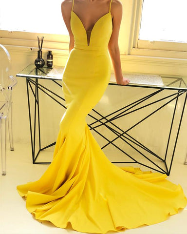 Image of Yellow-Prom-Dresses-Mermaid-Backless-Evening-Gowns-With-Straps