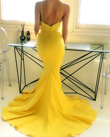 Image of Sexy-Backless-Mermaid-Prom-Dresses-V-neck-Long-Evening-Gowns