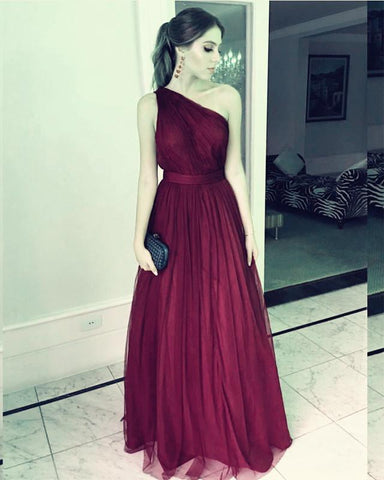 Image of Long Tulle Floor Length Bridesmaid Dresses One Shoulder