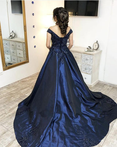 Image of Navy Blue Satin Ball Gowns Quinceanera Dresses Lace Appliques