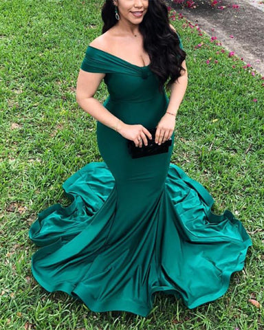 Image of Mermaid Off-The-Shoulder Court Train Prom Evening Dresses
