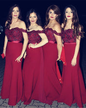 Load image into Gallery viewer, Burgundy Bridesmaid Dresses Mermaid Sweetheart Off Shoulder Formal Gowns