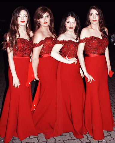 Image of Burgundy Bridesmaid Dresses Mermaid Sweetheart Off Shoulder Formal Gowns