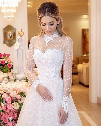 Image of High Neck Long Sleeves Tulle Princess Wedding Dress Lace Edge