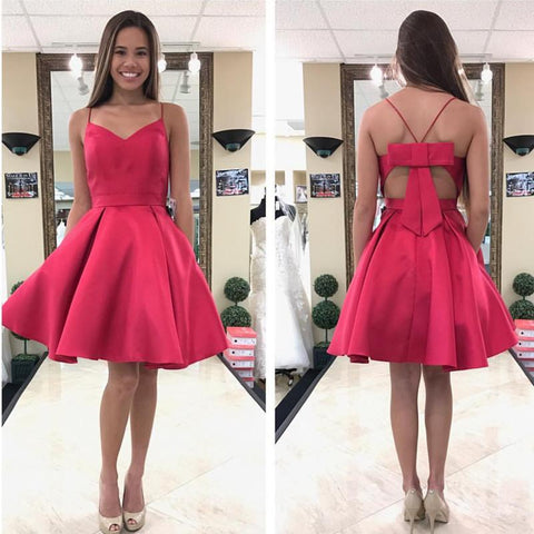 Image of Pink Satin Bow Back Homecoming Dresses Short Prom Gowns 2017