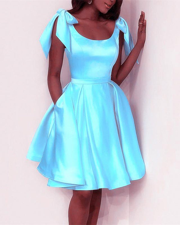 Elegant Bow Shoulders Ruffles Satin Homecoming Dresses